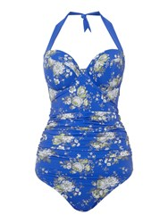 Dickins And Jones Floral Halter Cup Sized Swimsuit Blue