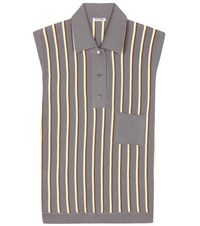 Miu Miu Striped Sleeveless Polo Shirt Grey