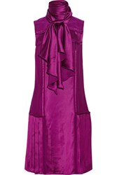 Oscar De La Renta Pleated Satin Dress Purple