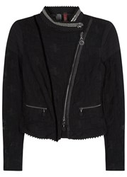 High Outwit Black Stretch Lace Biker Jacket