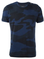 Hydrogen Camouflage Fitted T Shirt Blue