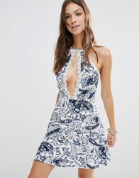 Young Bohemians Halter Neck Dress With Lace Split Detail In Paisley Blue