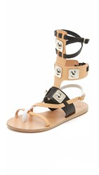 Ancient Greek Sandals For Peter Pilotto Gladiator Sandals Natural Black White