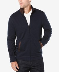 Perry Ellis Men's Slub And Suede Zip Up Cardigan Sweater Dark Blue