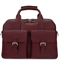 Aspinal Of London Harrison Leather Overnight Business Bag Burgundy