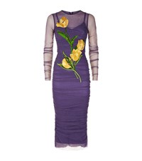 Dolce And Gabbana Ruched Applique Dress Female Purple
