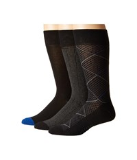 Cole Haan Modern Diamond Crew 3 Pack Black Black Astor Blue Black Charcoal Heather 1 Men's Crew Cut Socks Shoes