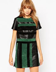 Asos Suede And Leather Blocked T Shirt Dress Blackgreen
