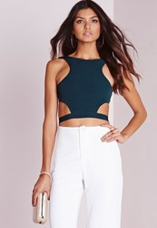 Missguided Wrap Around Crop Top Teal