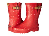 Chooka Classic Dot Mid Rain Boot Red Women's Rain Boots
