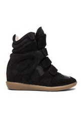 Isabel Marant Bekett Calfskin Velvet Leather Sneakers In Black