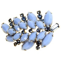 Alice Joseph Vintage Sherman Silver Toned Glass And Diamante Leaf Brooch Blue
