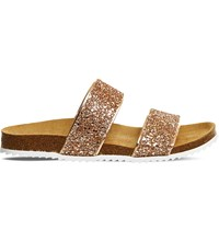 Office Oslo 2 Glitter Slider Sandals Rose Gold Glitter