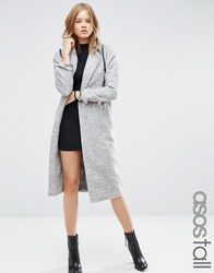 Asos Tall Coat With Batwing Sleeve In Midi Length Grey Marl