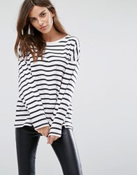 Selected Long Sleeve T Shirt In Stripe Snow White Navy