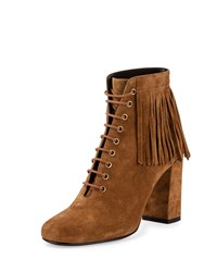 Saint Laurent Fringed Suede Lace Up Ankle Boot Tan