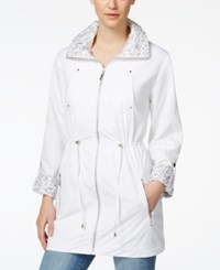 Jm Collection Animal Print Trim Anorak Jacket Only At Macy's Bright White