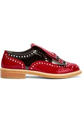 Robert Clergerie Disney Royal Laser Cut Patent Leather Brogues Red