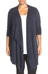 Plus Size Women's Barefoot Dreams Drape Front Cardigan Indigo Midnight