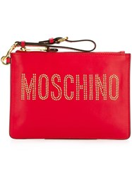 Moschino Stud Embellished Logo Clutch Red