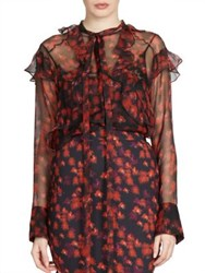 Givenchy Ruffle Detail Silk Chiffon Blouse Multi
