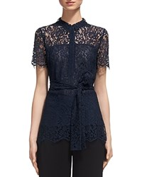 Whistles Fraia Lace Shirt Navy
