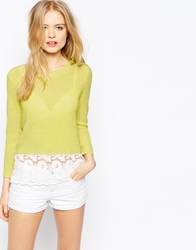 Vero Moda Ribbed Jumper With Lace Hem Lime