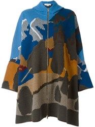Stella Mccartney Hooded Cape Design Coat Multicolour