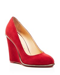 Charlotte Olympia Carmen Wedge Pumps Burgundy
