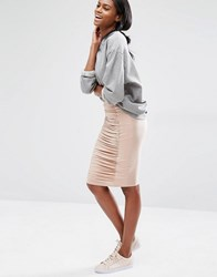 Missguided Ruched Detail Pencil Skirt Nude Beige