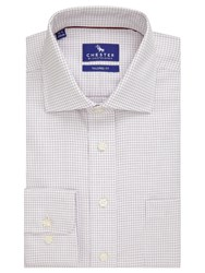 Chester Barrie By Tattersall Grid Check Tailored Fit Shirt Wine White