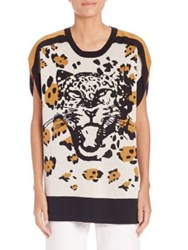 Sonia Rykiel Leopard Intarsia Silk And Cotton Tunic Black Multi
