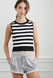 Forever 21 Striped Cropped Sweater Black White