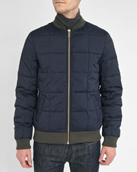 Scotch And Soda Blue Quilted Nylon Bomber Jacket