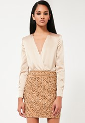 Missguided Gold Embellished Mini Skirt
