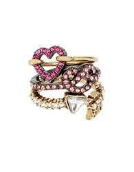 Betsey Johnson Three Piece Pave Heart And Pretzel Ring Set Gold
