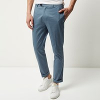 River Island Mens Light Blue Cropped Skinny Trousers