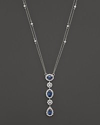 Bloomingdale's Sapphire And Diamond Station Pendant Necklace In 14K White Gold 16 Blue
