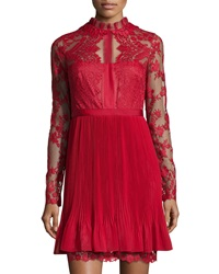 Notte By Marchesa Lace Long Sleeve Cocktail Dress Red