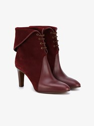 Chloe Kole Lace Up Leather And Suede Ankle Boots Burgundy