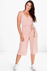Boohoo Gracie Ribbed Belted Jumpsuit Nude