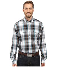 Cinch Long Sleeve Plain Weave Plaid Double Navy Men's Clothing
