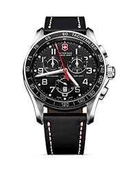 Victorinox Swiss Army Classic Chronograph Watch With Leather Strap 45Mm Black