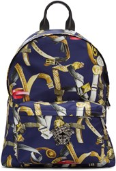 Versace Multicolor Belts Print Backpack