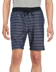 Original Penguin Striped Slim Fit Shorts Blue