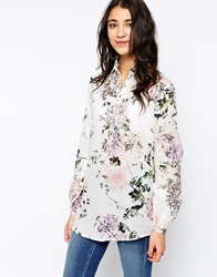 Pieces Floral Print Long Sleeve Shirt Whitepink