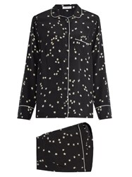 Equipment Lillian Stars Print Silk Crepe Pyjama Set Black