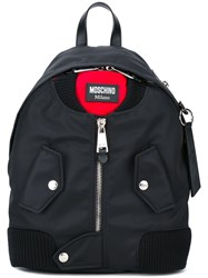 Moschino Bomber Jacket Effect Backpack Black