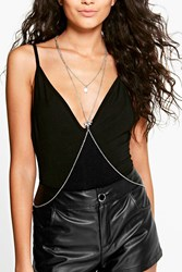 Boohoo Embellished Layered Body Chain Silver