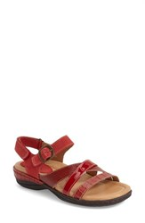 Women's Earth 'Aster' Quarter Strap Sandal Red Crocodile Print Leather
